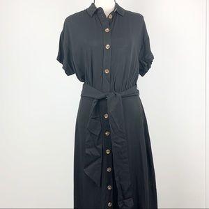 H&M short sleeve button-down black maxi dress